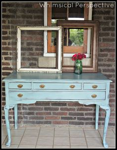 Duck Egg: Annie Sloan Chalk Paint Paint for console table Staging Furniture, Furniture Projects, Furniture Makeover, Refurbished Furniture, Dresser Makeovers, Diy Projects, Reclaimed Furniture, Furniture Refinishing, Repurposed Furniture