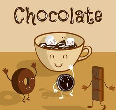 Cartoon delicious hot chocolate illustration vector graphics