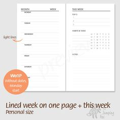 Week on one page (left page) Monday start Pages are undated and lined - Printable Planner Insert - Habits & Tasks, top 3, tracker, notes, wo1p, bullet journal, Personal size, ring planner or traveler's notebook