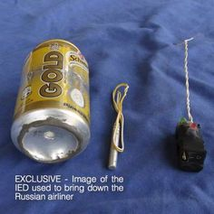 A photo published in Islamic State magazine Dabiq shows a can of Schweppes Gold soft drink and what appeared to be a detonator and switch on a blue background. This picture was provided by a third party. Reuters is unable to independently verify the authenticity, content, location or date of this image.
