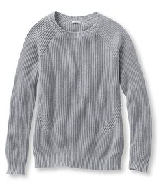 Bean's Shaker-Stitch Crewneck Sweater would get this in gray heather and sea glass