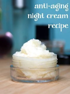 This anti aging night cream recipe helps to reduce the signs of aging naturally with ingredients like coconut water, cocoa butter, evening primrose and rosehip seed oil.