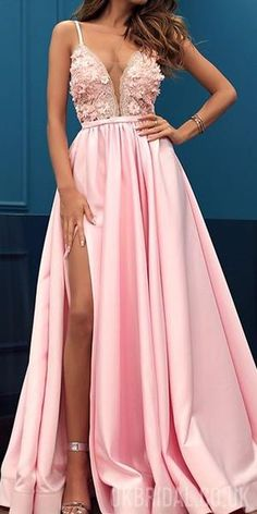 Prom Dress For Teens, Charming Pink V-neck Sleeveless Split Prom Party Dress with Appliques, cheap prom dresses, beautiful dresses for prom. Best prom gowns online to make you the spotlight for special occasions. Split Prom Dresses, Straps Prom Dresses, Pink Prom Dresses, Sweet 16 Dresses, A Line Prom Dresses, Beautiful Prom Dresses, Cheap Prom Dresses, Prom Party Dresses, Homecoming Dresses