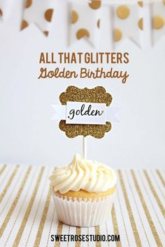 "Awesome idea for a ""Golden"" Birthday or Anniversary! You could make this at Paradise Scrapbook Boutique in Chico, CA! All That Glitters Golden Birthday Party Golden Birthday Themes, Golden Birthday Parties, 23rd Birthday, Holiday Parties, Birthday Ideas, Birthday Quotes, Glitter Party, Gold Party, Sweet Tea"