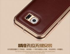 iMATCH Aircraft Aluminum Frame Metal Bumper Genuine Leather Back Cover Case for Samsung Galaxy S6 G9200