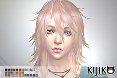 Pink & Fluffy hair F TS4 edition at Kijiko via Sims 4 Updates  Check more at http://sims4updates.net/hairstyles/pink-fluffy-hair-f-ts4-edition-at-kijiko/