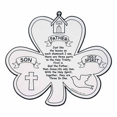 Color Your Own Shamrock Trinity Cutouts. Teach the mystery of the Holy Trinity with this fun project! Color this 10 11 card stock cutout . Catholic Crafts, Catholic Kids, Church Crafts, Kids Church, Catholic Confirmation, Catholic Prayers, Church Ideas, Religion Activities, Church Activities