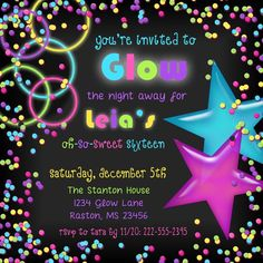 Get your glow on, light up the night and then glow the night away with these sweet 16 glow party invitations! Totally custom designing means that you can have any text that you want on these cards, so use these for any age of birthday, and for party themes of neon, blacklight, dance, nightclub or other bright event invitation.