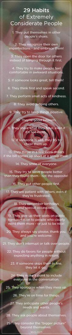 •❈• נαηιєкαтнℓєєη•❈• BLUSH CONSIDERATIONS. <3 29 Habits of Extremely Considerate People www.levo.com