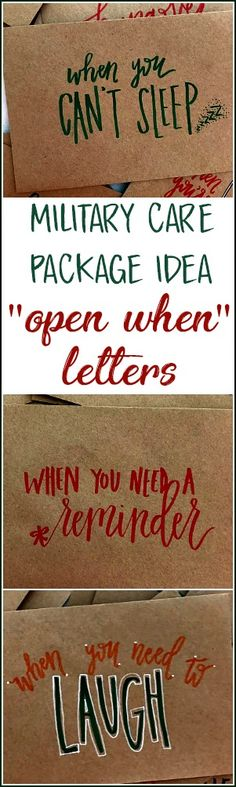 """Hand Lettered """"Open When"""" Envelopes - Going Away Present - Pre-deployment gift - Military Care Package Idea, Long Distance Relationship 