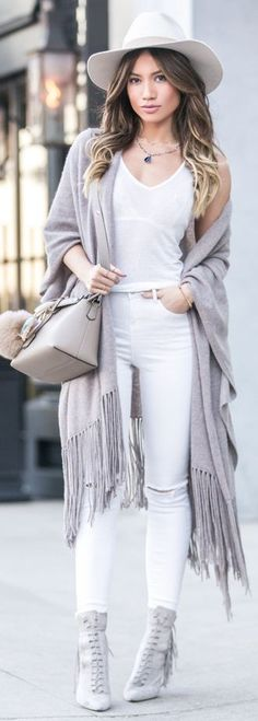 Birkin vega Hat, Cashmere Linus Travel Scarf, Ripped Denim, By the Way Tote, Fendi Pom, Hurricane Frames In Beige, Katys Suede tassel Boots, Infinity Necklace | Light Gray And White Spring Casual Chic Street Style | My White T #birkin