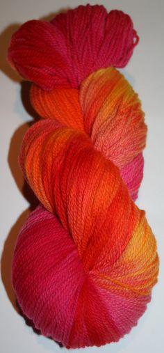 "Sunrise"", White Gum Wool, 4ply, fingering weight, Ethical, Australian superfine merino. Orange, Pink, Yellow. by AngiesStudioYarn on Etsy"