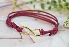 Infinity bracelet- Karma bracelet- Adjustable blood red string bracelet bracelet,bridesmaid bracelet,bridesmaid gift.#L218S073