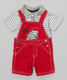 Another great find on #zulily! Red 'Choo! Choo!' Shortalls & Gray Stripe Polo - Infant by Little Rebels #zulilyfinds