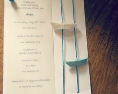 Baby boy Invitation - Boat Invitations for baptism-party-baby shower , 10pcs