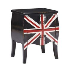 The Zuo Union Jack small cabinet aids flair and a sense of history to any living space. This small cabinet features an antique union design adapted to modern decor. Union Jack, Small Console Tables, Wood Chest, Small Cabinet, Black Cabinets, Colored Cabinets, Wood Accents, Painted Furniture, Arquitetura