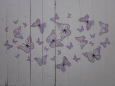 Butterfly wall art --- 3D papieren muurvlinders in paars --- Als muurdecoratie, leuk cadeau, voor op een tienerkamer of voor een stoere babykamer