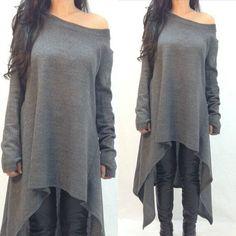 Fashion Womens Loose Long Sleeve A-line off shoulder Shirt Boho Casual Cotton Linen shirt Autumn Asymmetric Long plus size Dress Alternative Measures