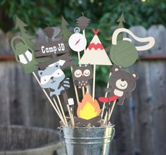 Camping themed Birthday party centerpiece by ladybugkarla on Etsy, $25.00