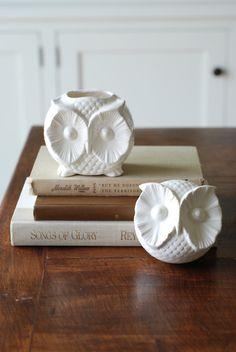 handmade modern vintage owl container by 2chicksandafancyowl