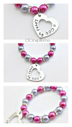 Loved by God Hand stamped heart bracelet $34.50