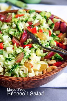 Mayo-Free Broccoli Salad - loaded with goodies, not mayo!