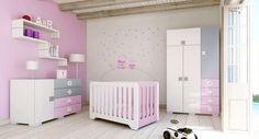 Habitaciones infantiles para niñas color rosa combinado con gris. El lugar donde se producen los mejores sueños... ¡Disfrútalo con tu bebé!