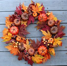 20 Fall-Themed Decorating Ideas Easy Fall Wreaths, Autumn Wreaths For Front Door, Diy Fall Wreath, Thanksgiving Wreaths, Holiday Wreaths, How To Make Wreaths, Door Wreaths, Ribbon Wreaths, Winter Wreaths