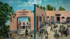 Esta obra es muestra de cómo conviven los modos de hacer pintura en México en el siglo XIX y XX. Si bien el tratamientode los personajes es deliberadamente ingenuo,con eco en los repertorios de tipos populares de lasescuelas de pintura al aire libre en la década de 1920, ladefinición arquitectónica del casco de la hacienda y elnaturalismo bucólico de la vegetación indican una fuerteinfluencia del paisajismo decimonónico. Obra de arreglo decorativo, contiene un eje verticalque divide…