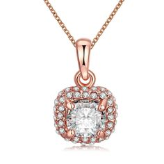 "Skyone Women's Girls' Lady's Cubic Zirconia Stone CZ Pendant Chain Necklace Rose Gold Plated Sparkly 20"" -- Awesome products selected by Anna Churchill"