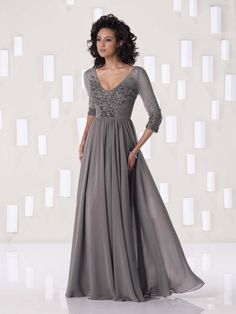 E410 V Neck Chiffon Floor Length Beading Dress Half Sleeve Bride Mother From Fairydres
