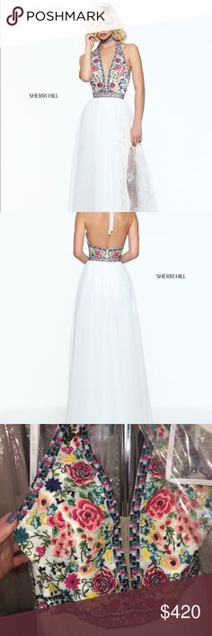 White 2017 Sherri Hill prom dress Bohemian halter style prom dress with embroidered flowers and a tulle and lace skirt from Sherri Hill (Style 51023).  Only worn once and is still in great condition. Sherri Hill Dresses Prom
