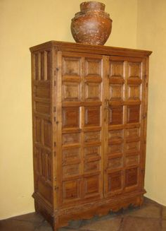Mexican Colonial armoire with raised panels. Tv Storage, Tall Cabinet Storage, European Apartment, Santa Fe Style, Hacienda Style, Southwest Decor, Raised Panel, Spanish Colonial, Mexican
