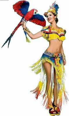Miss Universe Colombia Daniella Alvarez: OK, Parrot Reina, you get my vote! Fringe, a faux bird and the colors of the Colombian flag. Colombian Flag, Colombian Women, America Themed Party, Miss Universe 2012, South America, America 2, Amazing Cosplay, Beauty Pageant, Ladies Party