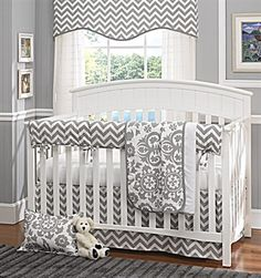 Gray and white Chevron Bumperless Baby Bedding. Gray Chevron Baby Bedding Set by Liz and Roo, Made in America