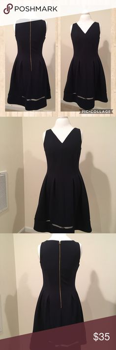 Navy Dress Beautiful navy dress size 8 but will fit a 6 too as the material has stretch. Flares out at the hips! Super elegant. Dresses