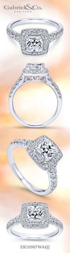 Gabriel & Co. - Voted #1 Most Preferred Fine Jewelry and Bridal Brand. Meet Addison - 14k White Gold Princess Cut Halo Engagement Ring
