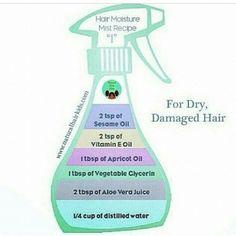 DIY Moisture Mist Recipe For Dry Damaged Hair