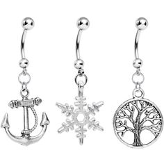 Nautical Seasons Dangle Belly Ring 3 Pack #bodycandy #3pack #bellyring $11.99