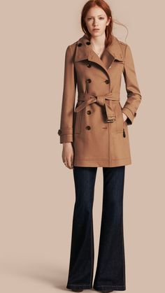Short Double Wool Twill Trench Coat Camel | Burberry
