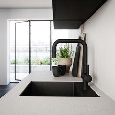 Industrial Kitchen Design, New Kitchen, Kitchen Ideas, Danish Design, New Homes, Minimalist, Black And White, Interior Design, Wood