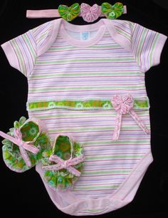 Baby Girl Pink and Green Onesie/Baby Crib Ruffle shoes by MitesCreations, $26.00