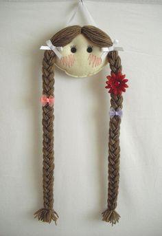 Doll Face Hair Clip Holder - Light skin with Light Brown Hair. $16.95, via Etsy.