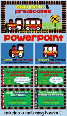 Subject & Predicate PowerPoint- 32 slides that will provide your students with a visual reference when considering subjects and predicates within sentences. It comes with a matching companion handout, too! Fourth Grade Writing, 3rd Grade Reading, Speech And Language, Language Arts, First Week Of School Ideas, Subject And Predicate, Reading Specialist, Word Study, Teaching Reading