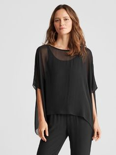 c42f2245b Jewel Neck Wide Box-Top in Sheer Silk Georgette | EILEEN FISHER Box Tops,