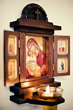Orthodox altar for home. Buy it here… Religious Icons, Religious Art, Catholic Altar, Prayer Corner, Home Altar, Home Icon, Orthodox Christianity, Orthodox Icons, Blessed Mother