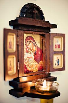 Orthodox altar for home. Buy it here… Religious Icons, Religious Art, Religion, Catholic Altar, Prayer Corner, Home Altar, Home Icon, Orthodox Christianity, Prayer Room