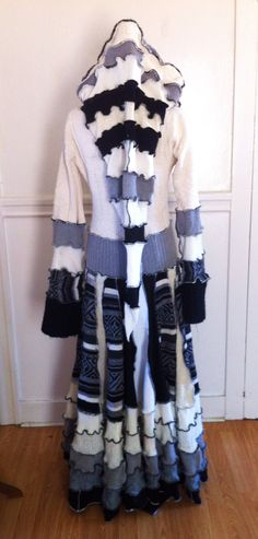 Christmas SALE reg. 400 Upcycled Recycled Patchwork Sweater Coat Dress Hoodie Gypsy Burning Man Festival Sweatercoat Duster Eco-friendly. $300.00, via Etsy.