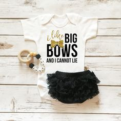 I Like Big Bows Onesie Sparkle Baby Girl Outfit with Ruffle Bottom Lace Bloomers | Baby Girl Clothes | Browse the entire collection at www.shopcassidyscloset.com