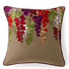 Embroidered Magenta Lupins Pillow